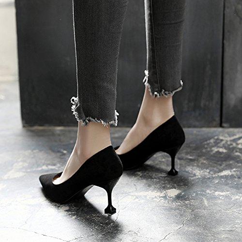 Jqdyl Tacones Spring New High Heels Punta femenina con zapatos sueltos Wild Zapatos profesionales para mujer Black 7cm