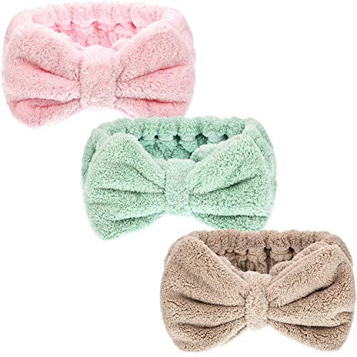 - Hicarer 3 Pack Microfiber Bowtie Headbands Makeup Headbands Wash Spa Yoga Sports Shower Facial Adjustable Hair Band for Girls and Women (Color Set 2)