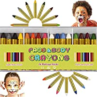 16 PCS Face Paint Crayons Kit, Bright Colors Face Paint Kit Set for Kids, Safe & Non-Toxic Face Body Crayons, Perfect for Halloween Makeup, Party or Pretend Play