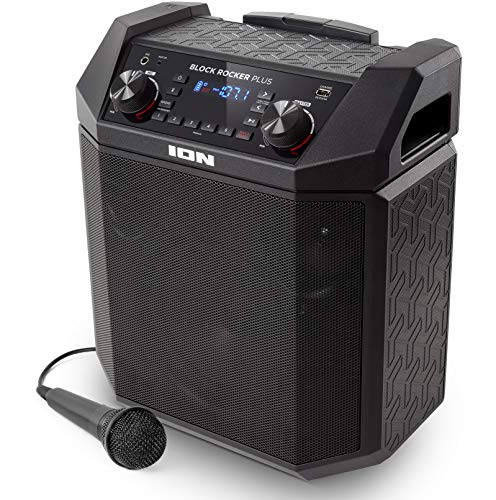 ION Audio Block Rocker Plus | 100W Portable Battery Powered Speaker with Bluetooth Connectivity, AM/FM Radio, Aux Input, Wheels & Telescoping Handle, Microphone & USB Charging
