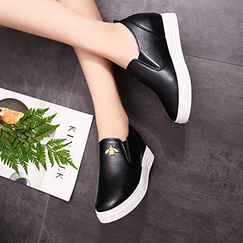 Btrada Women Casual Loafers Sneaker Embroidery Thick Bottom High Hidden Slide-On Shoes Black vbmT7
