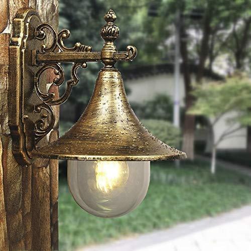 XAJGW Down Outdoor Wall Light / 1 x 60 W E27 Max Wall Lamp/Clear Acrylic Globe/Aluminium / IP43 / Stainless Steel Top/Matt Black (Color : Bronze) ()