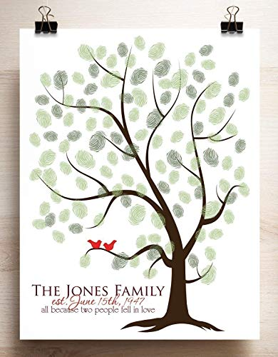 Thumbprint Tree Canvas or Paper Guestbook Alternative for Fingerprints Family Tree Print with Love Birds]()