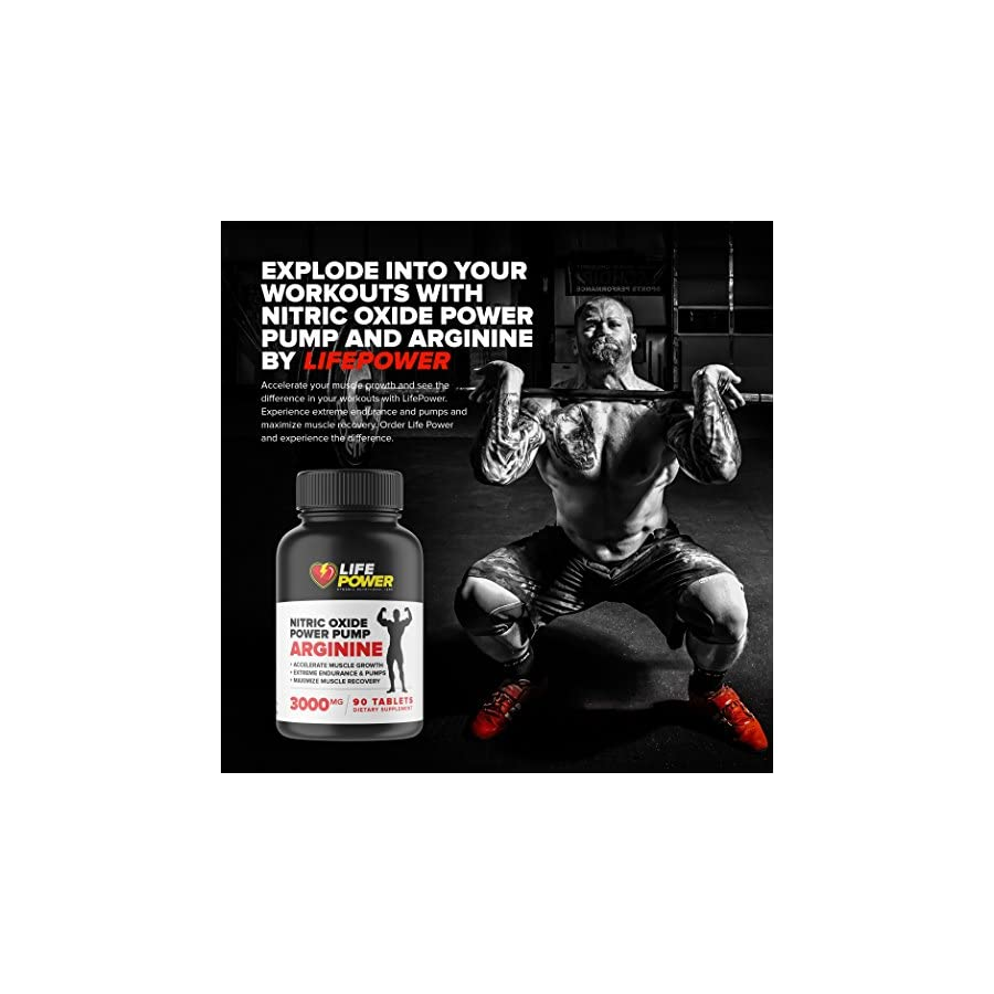 NITRIC OXIDE POWER PUMP 3000 MG L Arginine Nitric Oxide Supplements for Men & Women. Best Nitric Oxide Boosters for Pre Workout & Libido.Includes L Glutamine Ornithine 90 Tablets