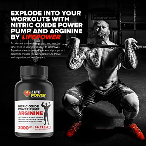 Life Power Labs NITRIC OXIDE POWER PUMP L Arginine L Glutamine Ornithine 3000 MG. Advanced Muscle Growth, Recovery and Energy for Men & Women. Best Amino Acids for Cardio & Heart Health. 90 Tablets