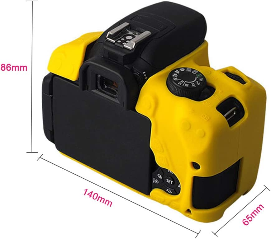58bh Flexible Silicone Camera Case Protective Cover Skin for Canon Rebel T5i EOSs 700D Microfiber Clean Cloth Black and Yellow 140x65x86mm