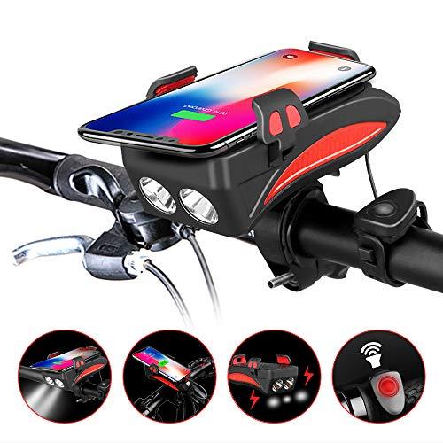 4-in-1 Waterproof Bicycle Light 400 Lumens w// Bike Horn//Phone Holder//Power Bank