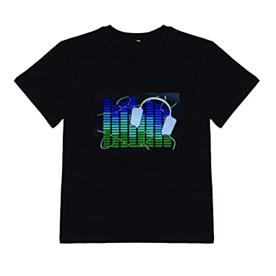 DINIRUKY Kids LED Flashing Shirt Sound Activated Black T Shirt Gift for Birthday Halloween Chiristmas Nightshow Wear: Clothing