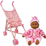 My First Baby Doll Stroller - Soft Body Talking African American Baby Doll Included Fun Play Combo Set for Babies Infants Toddlers Girls Kids