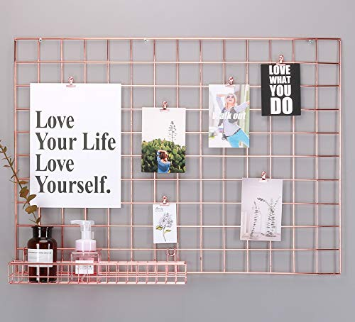 Simmer Stone Rose Gold Wall Grid Panel for Photo Hanging Display & Wall Decoration Organizer, Multi-Functional Wall Storage Display Grid, 5 Clips & 4 Nails Offered, Set of 1, Size 21.3