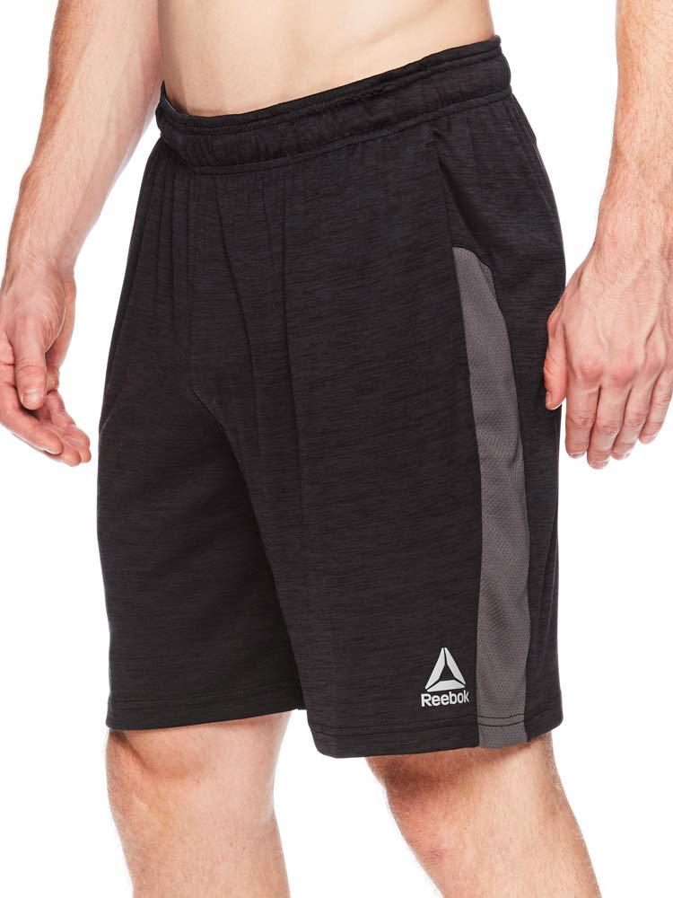 Reebok Men's Drawstring Shorts - Athletic Running & Workout Short - Cool Down Black Heather, Small