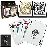 3 x Copag Poker Size Regular Index 1546 Playing Cards 2 decks (Black Gold Setup)