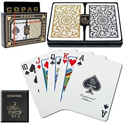 2 x Copag Poker Size Regular Index 1546 Playing Cards 2 decks (Black Gold Setup)