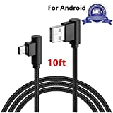 Micro USB Cable, AOKER [10ft/3m] [New] Right Angle 90 Degree Nylon Braided High Speed Micro USB Cable Fast Charger for Samsung Galaxy S7/S6/S5/Edge,Note 5/4/3,HTC,LG,Nexus and More (1x10ft Black)