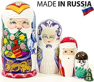 Russian Nesting Doll Snow Queen Hand Painted In Russia Medium Size Traditional Matryoshka Babushka 6 75 5 Dolls In 1 Blue 6 75 5