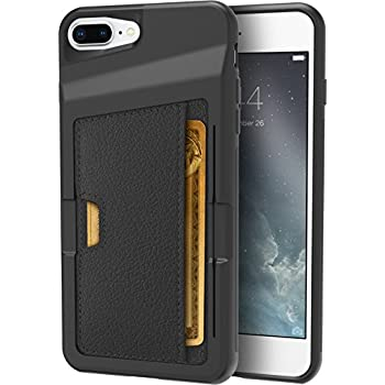 "Silk iPhone 7 Plus/8 Plus Wallet Case - Q CARD CASE [Slim Protective Kickstand CM4 Grip Cover] - ""Wallet Slayer Vol.2"" - Black Onyx"
