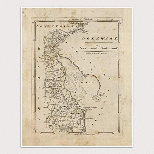 Old Delaware Map Art Print, 1816, Archival Reproduction, Unframed