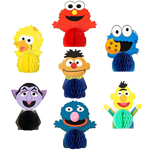 PANTIDE 7Pcs Sesame Honeycomb Centerpieces Table Topper, Double-Sided Elmo Cookie Monster Table Decorations Sesame Party Favors Photo Booth Props for Kids Birthday Party Sesame Theme Party Supplies