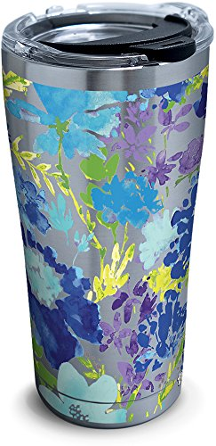 Tervis 1290857 Fiesta-Purple Floral Tumbler with Clear and Black Hammer Lid, 20 oz Stainless Steel, Silver (Tumbler Tervis Floral)