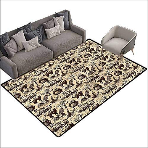 Large Floor Mats for Living Room Vintage Halloween,Black Cat Motif 80