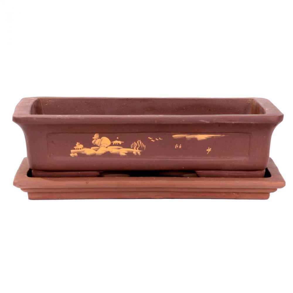 Bonsai - Schale + Untersetzer mit Motiv, 30 x 21 x 8 cm eckig 31088 Bonsai-Shopping