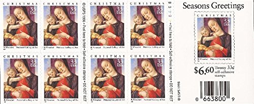 (US Stamp - 1999 Christmas - Booklet Pane of 20 Stamps - Scott #3355a )
