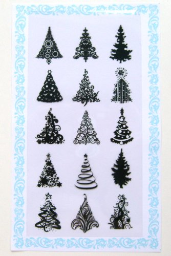 Small Clear Acrylic Stamp (Flonz Small Christmas Trees Clear Stamps, 4 x 7-Inch)