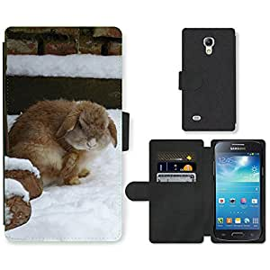 GoGoMobile Flip PU Leather Wallet Case with Credit Card Slots // M00117777 Rabbit Snow Animal Pet Fur Nager // Samsung Galaxy S4 Mini i9190