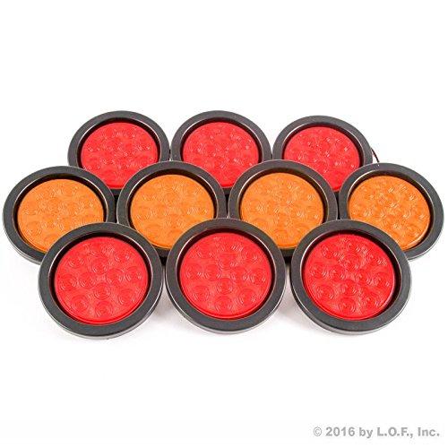 """4"""" Round 6 Red & 4 Amber 10 LED Stop Turn Tail Light Brake"""