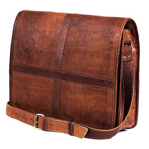 Leather Full Flap Messenger Handmade Bag Laptop Bag Satchel Bag Padded Messenger Bag School Bag 15X11X4 Inches Brown …
