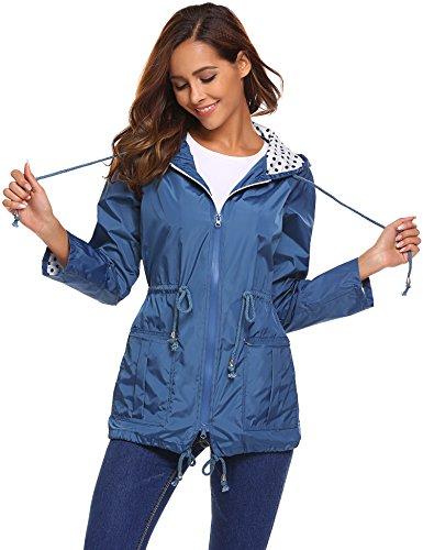 Womens Performance Light Jacket - Pinspark Women's Lightweight Raincoat Waterproof Hooded Windbreaker Outdoor Jacket
