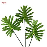 4 Pcs Simulation Feel Spring Rain Leaves Interior Decoration Green Plant Green Leaves Photo Props Background Wall