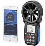 HOLDPEAK 866B-APP Digital Anemometer Handheld APP Wind Speed Meter for Measuring Wind Speed, Temperature, Wind Chill with Backlight (Black)