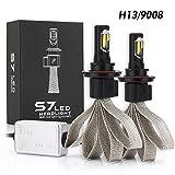 Tencasi 2PCS H13 Hi-Lo Beam LED Headlight Bulbs S7 Series 60W 6400LM 6000K Cool White Lamp LED Conversion Kits Super Bright 9008 COB LED CHIPS - 1 Year Warranty Kit