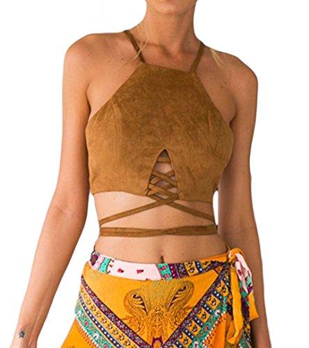 Doris Apparel Women's Camel Faux Suede Cut Out Multi Strap Tied Crop Top -