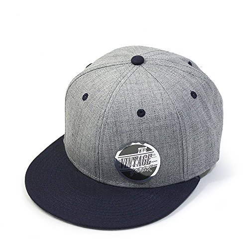 (Vintage Year Premium Heather Wool Blend Flat Bill Adjustable Snapback Hats Baseball Caps (Various Colors) (Navy/Heather Gray))