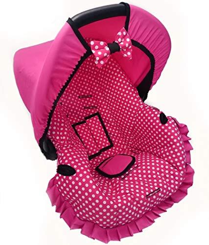 Capa Para Bebe Conforto - Pink Bola Branca - Multimarcas Sem Bordado Alan Pierre Baby