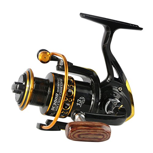 Metal Spool Wheels Spinning Reel 5.2:1 13 Ball Bearing Fishing Reel 1000-7000Series Carretilhas De Pescaria Molinete 3000 Series 13