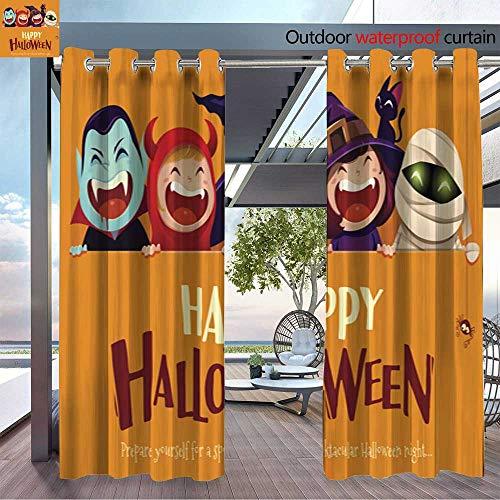 BlountDecor Fashions Drape Happy Halloween Party Group of Kids in Halloween Costume with Big Signboard Outdoor Curtain Waterproof Rustproof Grommet Drape W72 x L84/Pair -