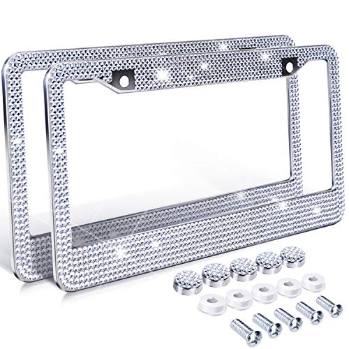 Plate Frame Tags (Ohuhu Diamond License Plate Frame, 2 Pack Bling Rhinestone Car License Plate Frames Holders with 7 Shiny Crystal Rows, Metal Chrome Auto License Plate Cover with Mounting Screws, Silver)