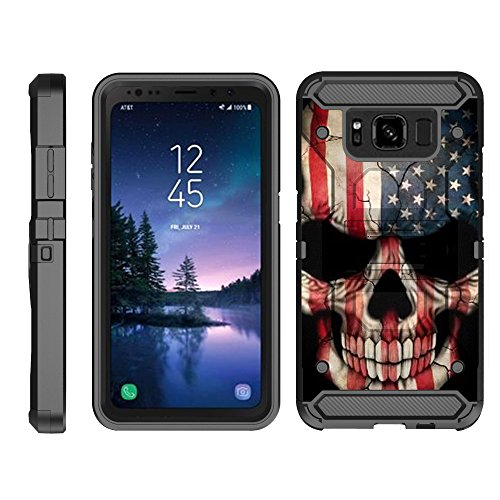 (TurtleArmor | Compatible for Samsung Galaxy S8 Active Case | G892 [Armor Pro] Full Body Protection Armor Hybrid Kickstand Rugged Cover Holster Belt Clip Case - US Flag Skull)