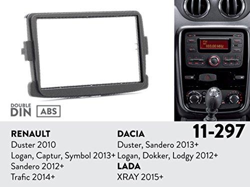11-297 Radio Installation Mounting Kit for RENAULT Duster 2010+; Logan, Captur, Symbol 2013+; Sandero 2012+; Trafic 2014+ / DACIA Duster, Sandero 2013+; Logan, Dokker, Lodgy 2012+ / LADA XRAY 2015+