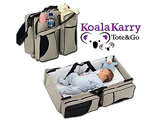 - Koala Karry Tote & Go Baby Diaper Bag and Portable Bassinet (3-in-1) Padded Changing Station & Travel Sleep Crib | Bottle, Toy, Wipes Storage Pockets | Infants, Newborns, Toddlers