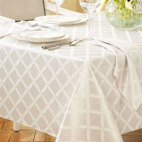Lenox American By Design Laurel Leaf Tablecloth -Off White - Assorted Sizes (70 Round)