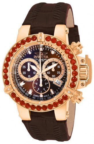 Invicta Womens Subaqua NOMA III Swiss Chronograph Brown Dial Fire Opel Leather 18k Watch 14767