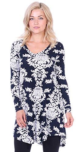 Dress Paisley Print Jersey (Popana Women's Tunic Tops for Leggings Long Sleeve Shirt Plus Size Made in USA Medium ST29)