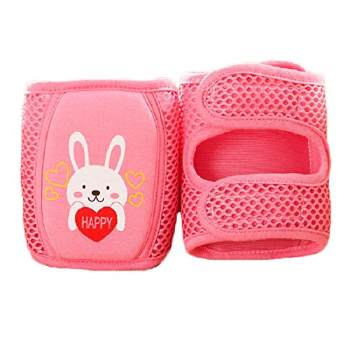 Baby knee Pads, Cute Adjustable Infant Toddler Elbow Pads Crawling Safety Protector, Mesh Breathable Absorb Sweat for Summer (Rabbit - Red)