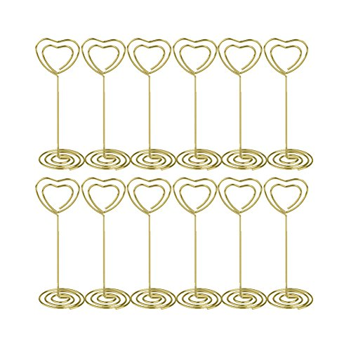 Artliving 12pcs Place Card Holder Memo Holder Clip Photo Holder Table Number Holder Heart Shape Gold Gold Heart Place Card Holder