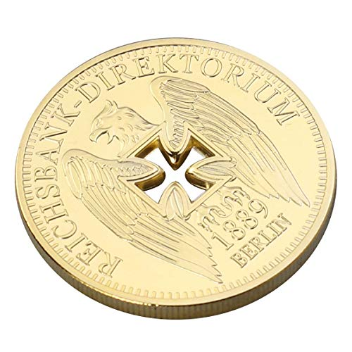 Amosfun German Imperial Bank Gold-Plated Commemorative Coins Germany Cross Eagle Challenges Coin Collectibles