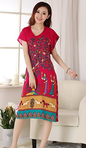 Bigood Robe de Chambre Femme Coton Pyjama Chemise de Nuit Rouge Bleu